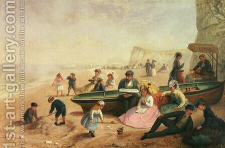 A Seaside Scene by Jane Maria Bowkett - Reproduction Oil Painting
