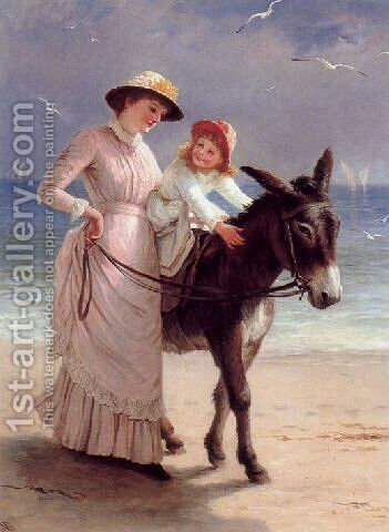 Mother and child promenading on a beach with a donkey by Jane Maria Bowkett - Reproduction Oil Painting