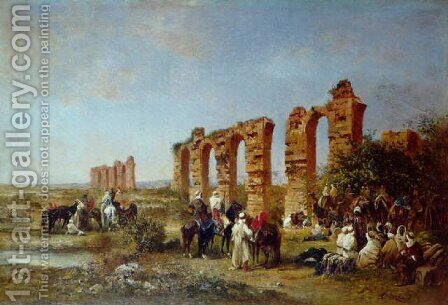 Rassemblement aux abords des ruines 1873 by Honore Boze - Reproduction Oil Painting