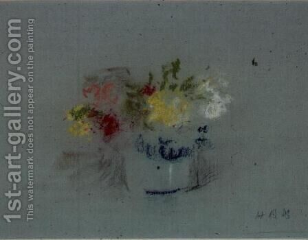 Flowers in a Blue and White Jar by Hercules Brabazon Brabazon - Reproduction Oil Painting