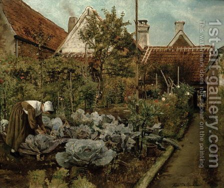 A Flemish Garden by Henri de Braekeleer - Reproduction Oil Painting