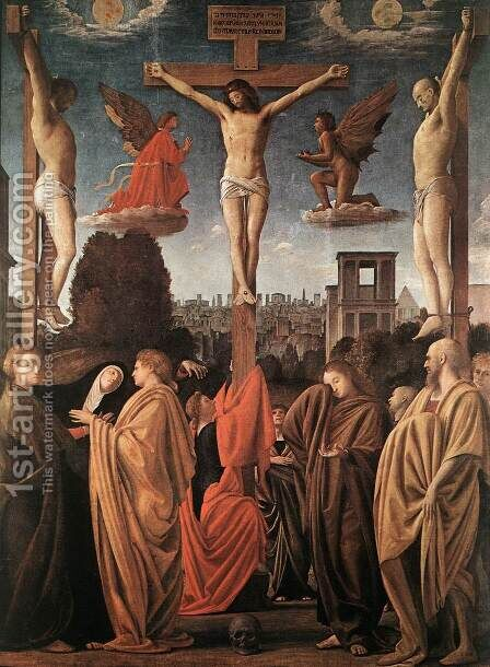 The Crucifixion by (Bartolomeo Suardi) Bramantino - Reproduction Oil Painting