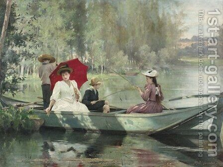 Sommerlicher Angelausflug auf dem See 1892 by Alfred-Henri Bramtot - Reproduction Oil Painting