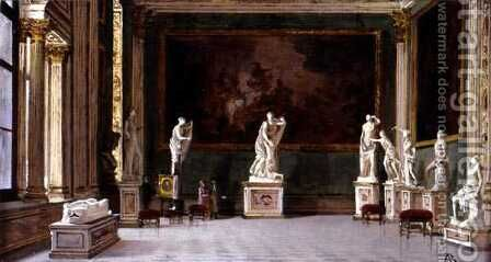 Sculpture Gallery at the Pitti Palace, Florence by Antonietta Brandeis - Reproduction Oil Painting