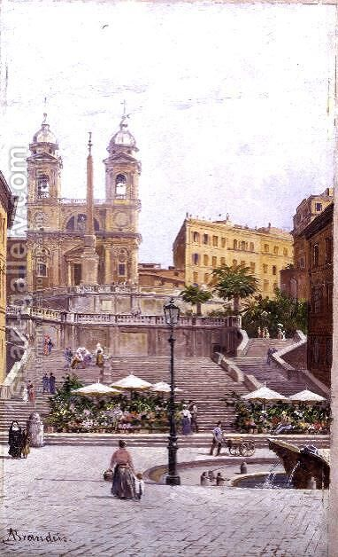 The Spanish Steps, Rome by Antonietta Brandeis - Reproduction Oil Painting