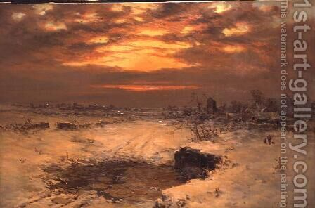 A Winter Sunset Near Hedingham by Charles Branwhite - Reproduction Oil Painting