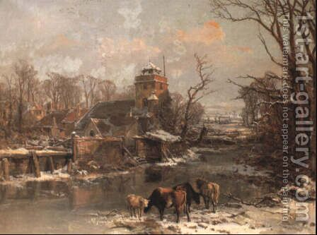 Cattle in a Winter Landscape 1855 by Charles Branwhite - Reproduction Oil Painting