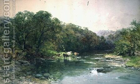 On the Dee, North Wales- Cattle Drinking by Charles Branwhite - Reproduction Oil Painting