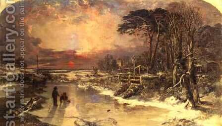 Winter Scene on the Thames 1846 by Charles Branwhite - Reproduction Oil Painting