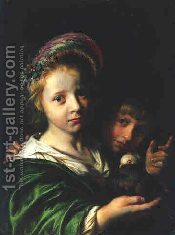A girl holding a pigeon and a boy gesturing 1652 by Jan De Bray - Reproduction Oil Painting
