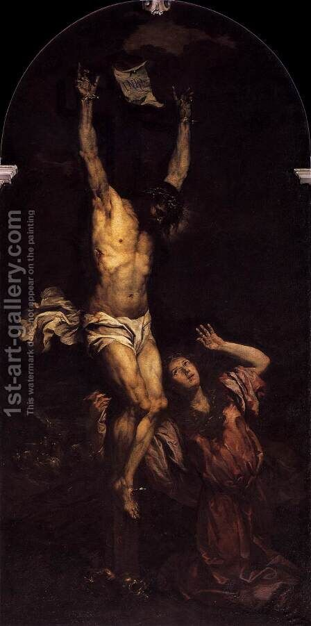 Mary Magdalene ot the Foot of the Cross c. 1670 by Giovanni Battista Langetti - Reproduction Oil Painting