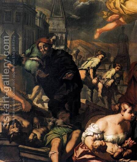 The Virgin Appears to the Plague Victims (detail) 1666 by Antonio Zanchi - Reproduction Oil Painting