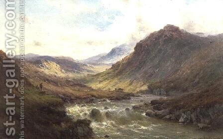 The Falls at Invergarry, Glen Till by Alfred de Breanski - Reproduction Oil Painting