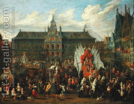 A Procession at Antwerp, 1697 by Alexander van Bredael - Reproduction Oil Painting