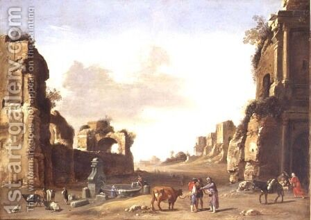 Classical Ruins with Peasants Watering their Animals by Bartholomeus Breenbergh - Reproduction Oil Painting