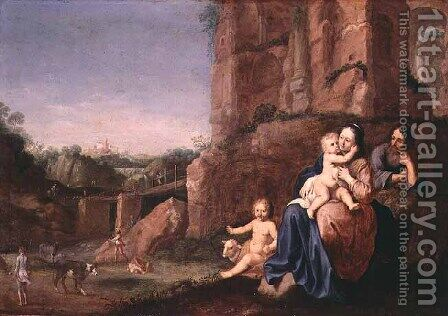 The Flight into Egypt by Bartholomeus Breenbergh - Reproduction Oil Painting