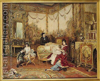 Victorien Sardou and his Family in their Drawing Room at Marly-le-Roi, c.1875 by Auguste de la Brely - Reproduction Oil Painting