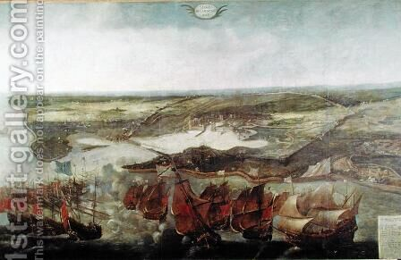 The Siege of La Rochelle in 1628 by Adrian van der Cabel - Reproduction Oil Painting