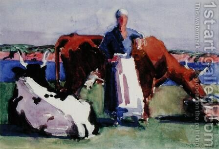 Milkmaid, Iona by Francis Campbell Boileau Cadell - Reproduction Oil Painting