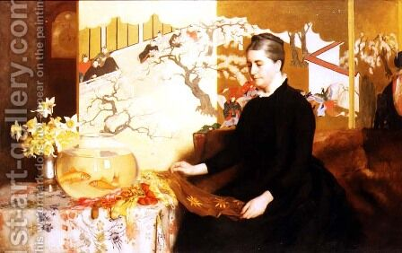 Lady With Japanese Screen and Goldfish (Portrait of the Artist's Mother) by James Cadenhead - Reproduction Oil Painting