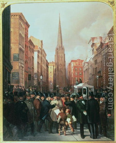 Wall Street, 13th October 1857 by James Harvey Cafferty - Reproduction Oil Painting