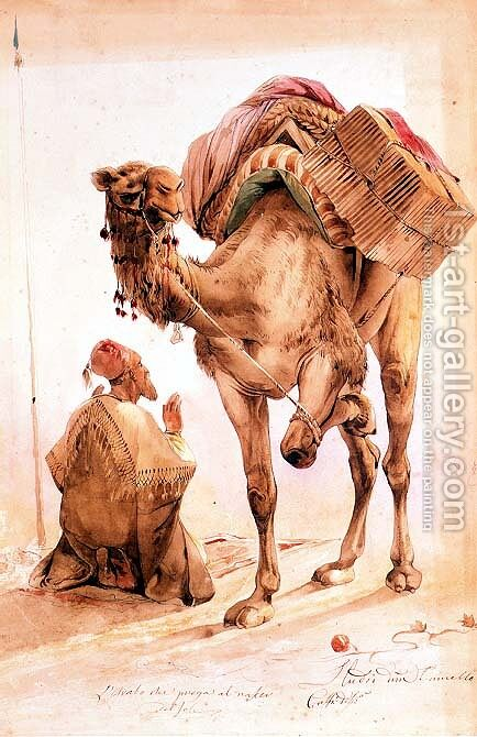 Praying Arab with a Secured Camel by Ippolito Caffi - Reproduction Oil Painting