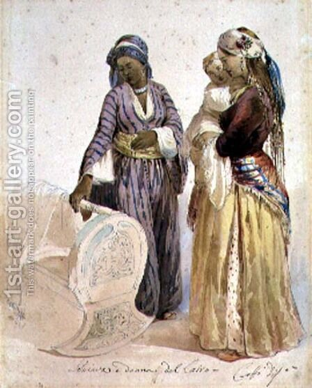 Slave and Woman from Cairo by Ippolito Caffi - Reproduction Oil Painting