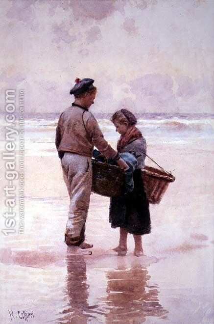 Breton Fisherchildren by Hector Caffieri - Reproduction Oil Painting