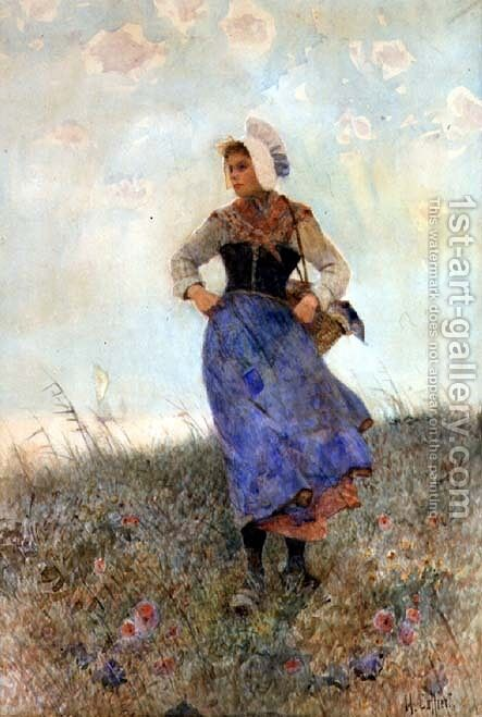 Breton Fishergirl by Hector Caffieri - Reproduction Oil Painting