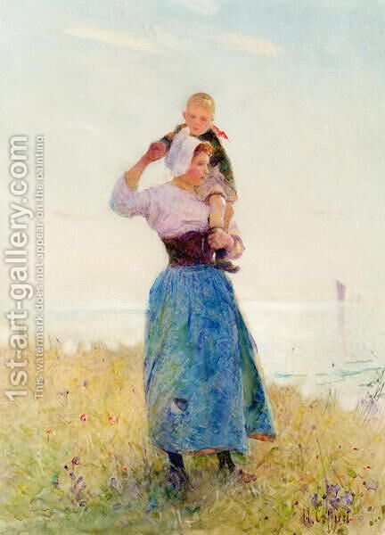 Woman and Child in a Meadow by Hector Caffieri - Reproduction Oil Painting