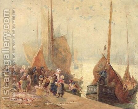 Unloading the Catch by Hector Caffieri - Reproduction Oil Painting
