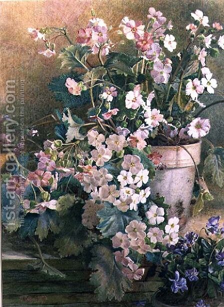 Study of Primroses, 1873 by Hector Caffieri - Reproduction Oil Painting