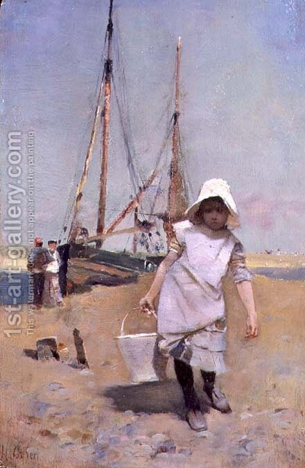 A Breton Fisher Girl by Hector Caffieri - Reproduction Oil Painting