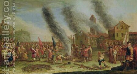 The Misery of War. The Pyre by Claude Callot - Reproduction Oil Painting
