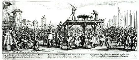 The Wheel, plate 14 from 'The Miseries and Misfortunes of War' 1633 by Jacques Callot - Reproduction Oil Painting