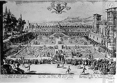 The Garden at the Palais de Nancy, dedicated to the Duchess of Lorraine, 1624 by Jacques Callot - Reproduction Oil Painting