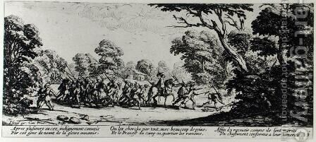 The Discovery of the Brigands, plate 9 from 'The Miseries and Misfortunes of War' 1633 by Jacques Callot - Reproduction Oil Painting