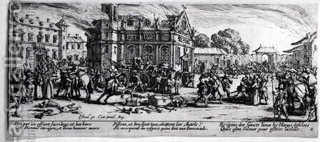 The Destruction of a Monastery, plate 6 from 'The Miseries and Misfortunes of War' 1633 by Jacques Callot - Reproduction Oil Painting