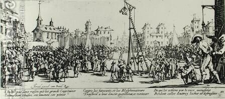 The Strappado, plate 10 from 'The Miseries and Misfortunes of War' 1633 by Jacques Callot - Reproduction Oil Painting
