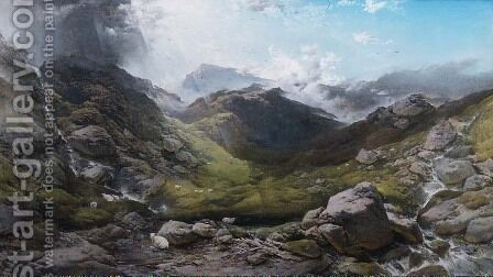Clouds passing over Ben More, 1870 by Henry Bright - Reproduction Oil Painting