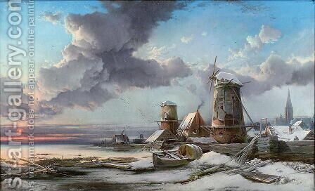 Frosty Sunrise, Leiden by Henry Bright - Reproduction Oil Painting