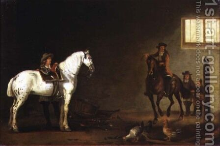 Horsemen with a grey and a bay in a riding school by Abraham Van Calraet - Reproduction Oil Painting