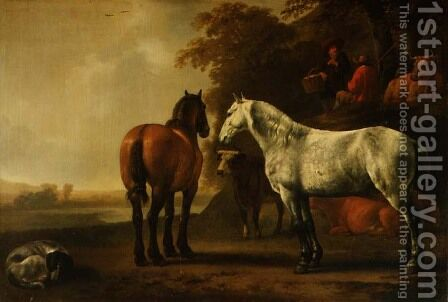 Horses and Cattle in a Landscape by Abraham Van Calraet - Reproduction Oil Painting