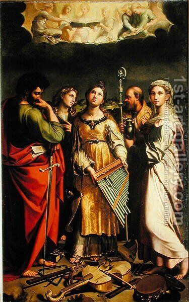 St. Cecilia surrounded by St. Paul, St. John the Evangelist, St. Augustine and Mary Magdalene, after Raphael by Claude Andrew Calthrop - Reproduction Oil Painting