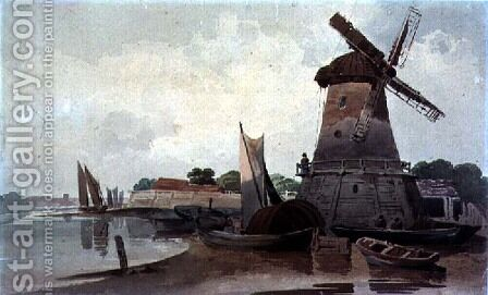 View on the Thames, with Windmill and Boats by Charles Calvert - Reproduction Oil Painting