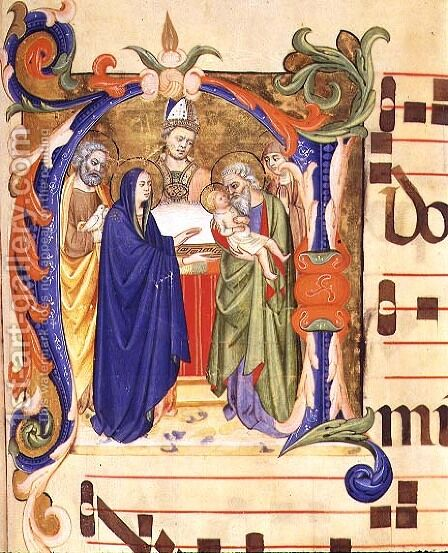 Ms 572 f.88r Historiated initial 'N' depicting the Presentation in the Temple from an antiphon from Santa Maria del Carmine, Florence by Don Simone Camaldolese - Reproduction Oil Painting