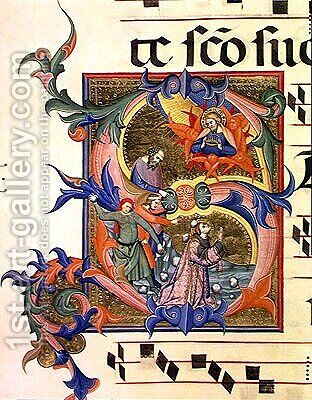 Ms 572 f.32v Historiated initial 'S' depicting the stoning of St. Stephen by Don Simone Camaldolese - Reproduction Oil Painting