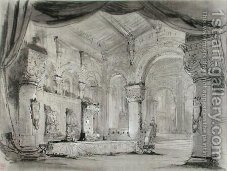 Set design of the palace interior for a performance of the opera 'Macbeth' by Charles Antoine Cambon - Reproduction Oil Painting