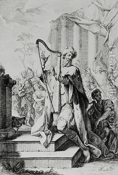 King David Playing the Lyre by Giuseppe Camerata - Reproduction Oil Painting
