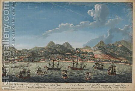 View of Roseau in the Island of Dominique, with the 1760 attack made by Lord Rollo and Sir James Douglas 1761 by Archibald Campbell - Reproduction Oil Painting